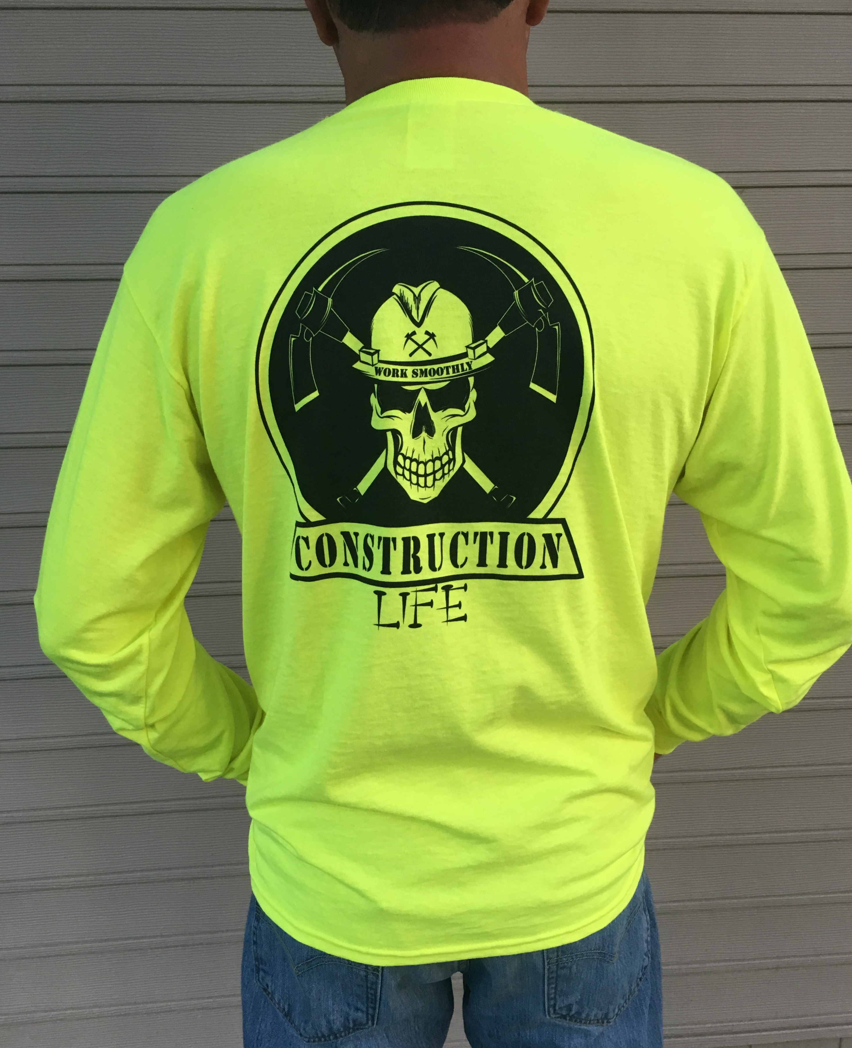 long sleeve safety green t shirt construction life