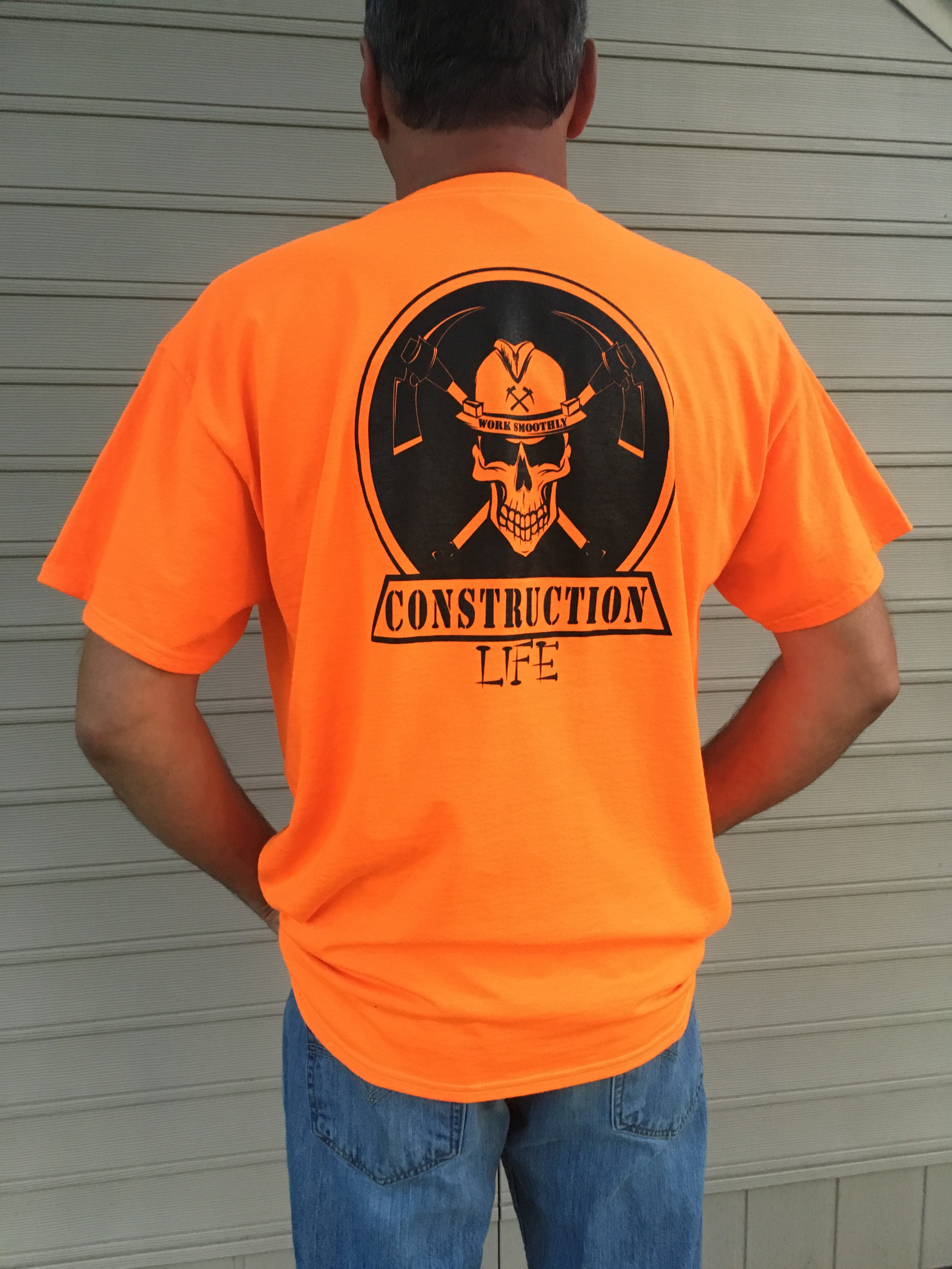 T shirt safety orange construction life for Safety t shirt logos